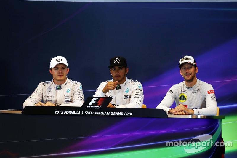FIA Press Conference,: Nico Rosberg, Mercedes AMG F1, second; Lewis Hamilton, Mercedes AMG F1, race winner; Romain Grosjean, Lotus F1 Team, third