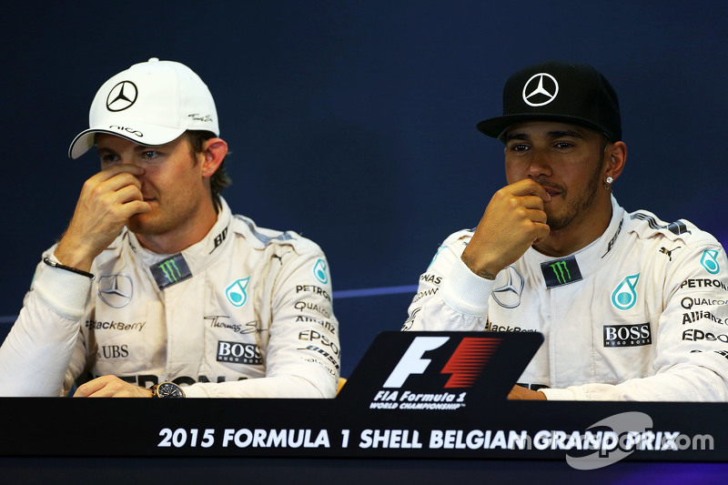 The FIA Press Conference,: Nico Rosberg, Mercedes AMG F1 with team mate Lewis Hamilton, Mercedes AMG F1