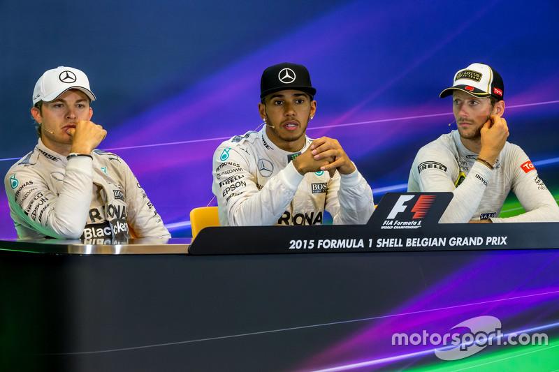 Konferensi Pers FIA pasca-balapan,: Nico Rosberg, Mercedes AMG F1, second; Lewis Hamilton, Mercedes AMG F1, race winner; Romain Grosjean, Lotus F1 Team, third