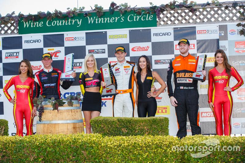GT podium: First place #9 K-Pax Racing McLaren 650S GT3: Kevin Estre, second place #31 EFFORT Racing