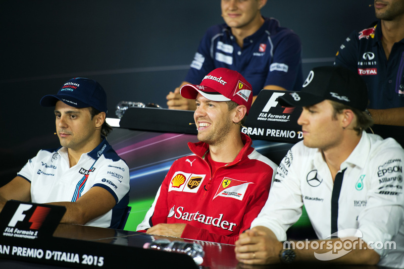 Felipe Massa, Williams, Sebastian Vettel, Ferrari and Nico Rosberg, Mercedes AMG F1 in the FIA Press