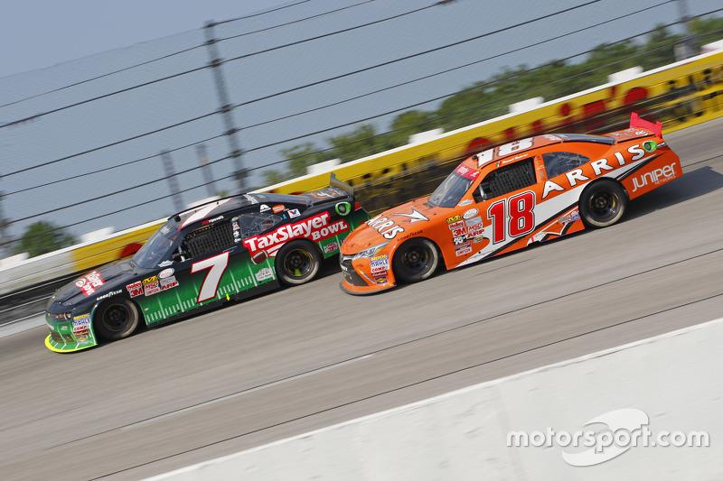 Regan Smith, JR Motorsports Chevrolet and Daniel Suarez, Joe Gibbs Racing Toyota