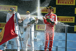 (L to R): Race winner Lewis Hamilton, Mercedes AMG F1, third placed Felipe Massa, Williams and second placed Sebastian Vettel, Ferrari celebrate on the podium