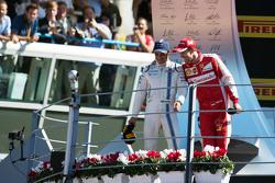 (L to R): Third placed Felipe Massa, Williams and second placed Sebastian Vettel, Ferrari celebrate on the podium