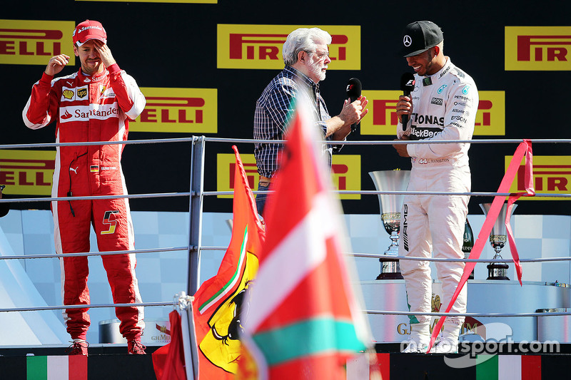 The podium (L to R): Sebastian Vettel, Ferrari, second, George Lucas, Star Wars Creator; Lewis Hamilton, Mercedes AMG F1, race winner