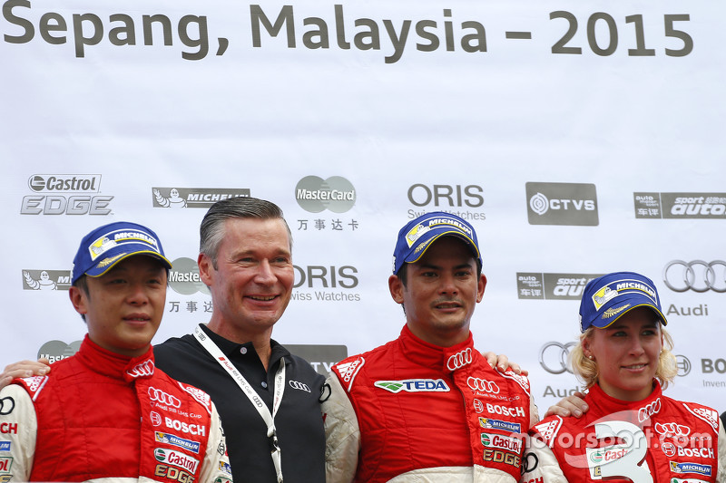 Round 1 podium: winner Alex Yoong Alex Yoong, Audi TEDA Racing Team, second place Marchy Lee,  Audi Hong Kong Team, third place Rahel Frey, Castrol Racing Team