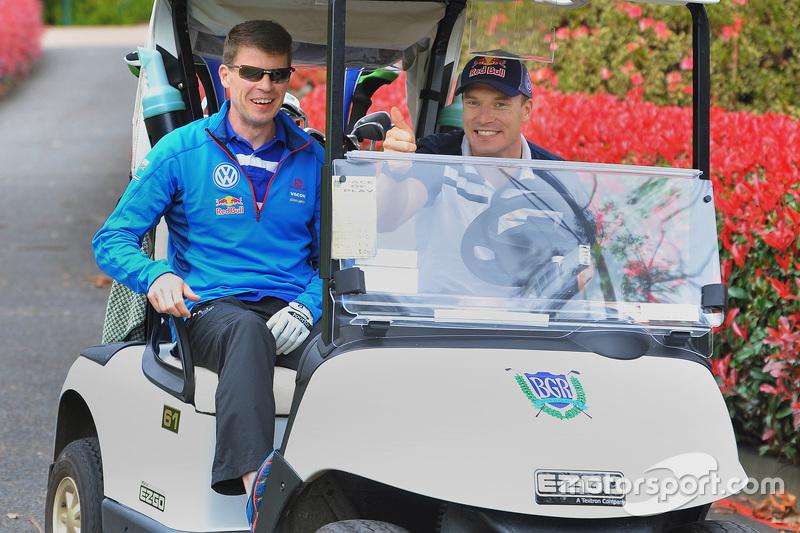 Jari-Matti Latvala und Miikka Anttila, Volkswagen Motorsport, spielen Golf am Bonville Golf Resort,