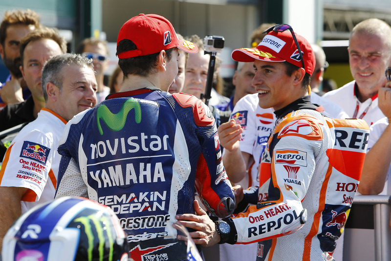Polesitter Jorge Lorenzo, Yamaha Factory Racing and second place Marc Marquez, Repsol Honda Team