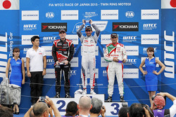 Podium: Jose Maria Lopez, Citroën C-Elysée WTCC, Citroën World Touring Car team, Norbert Michelisz, Honda Civic WTCC, Zengo Motorsport, Gabriele Tarquini, Honda Civic WTCC, Castrol Honda WTC Team