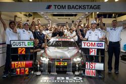 Tom Blomqvist, BMW Team RBM BMW M4 DTM celebrate his victory with the team