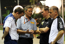 Steve Nielsen, Williams Sporting Manager with Mario Isola, Pirelli Racing Manager; Alan Permane, Lotus F1 Team Trackside Operations Director