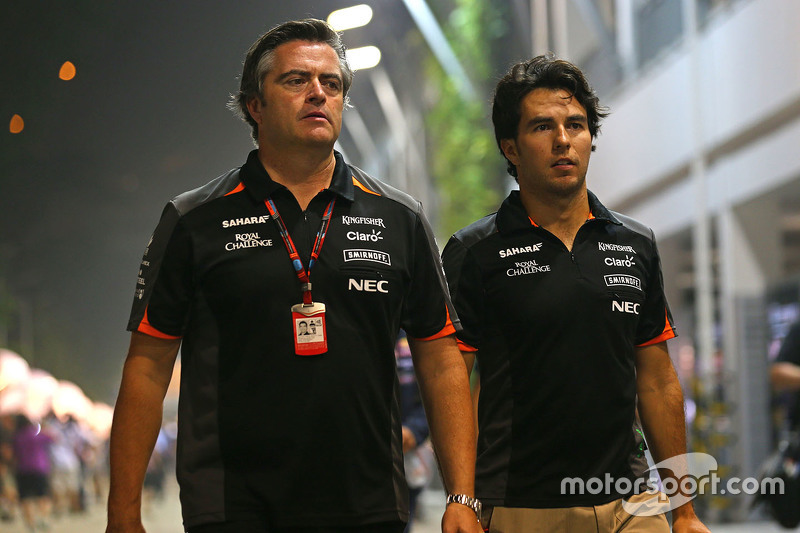 Andy Stevenson, Sahara Force India F1, Teammanager, mit Sergio Perez, Sahara Force India F1