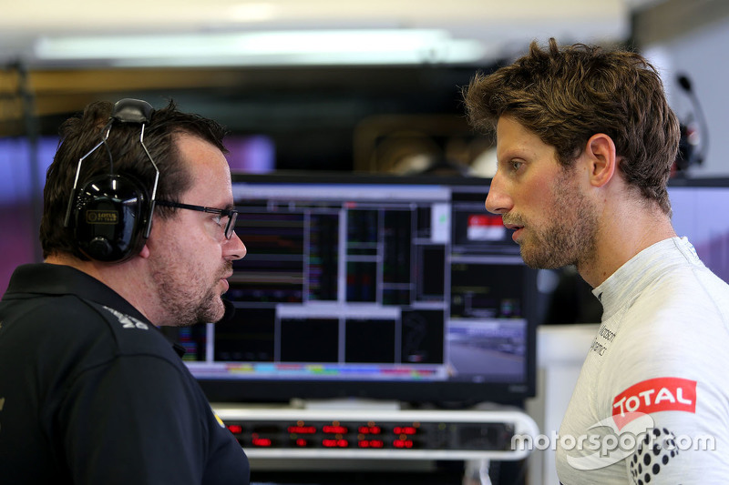 Julien Simon-Chautemps, Romain Grosjean race engineer, Lotus F1 Team and Romain Grosjean, Lotus F1 T