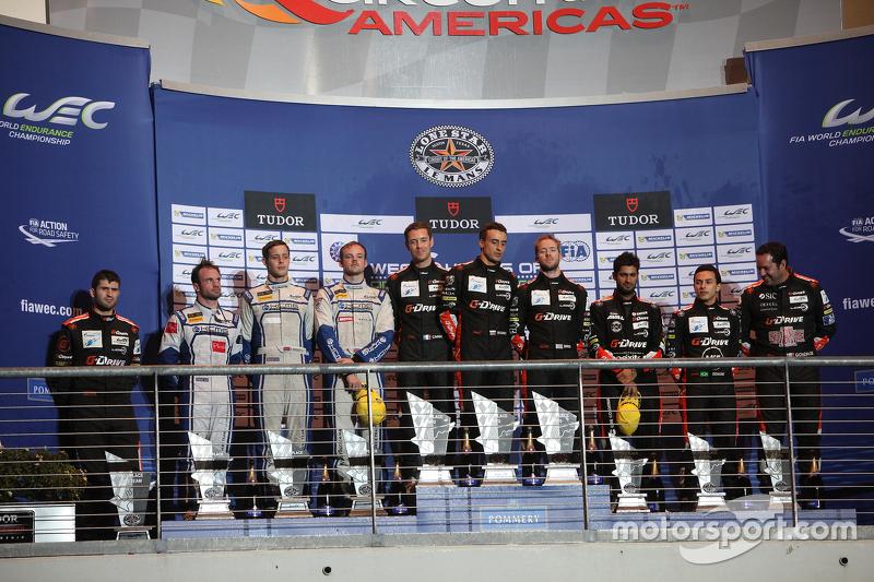 LMP2 podium: winners Roman Rusinov, Julien Canal, Sam Bird, G-Drive Racing, second place Matthew Howson, Richard Bradley, Nicolas Lapierre, KCMG, third place Ricardo Gonzalez, Pipo Derani, Gustavo Yacaman, G-Drive Racing
