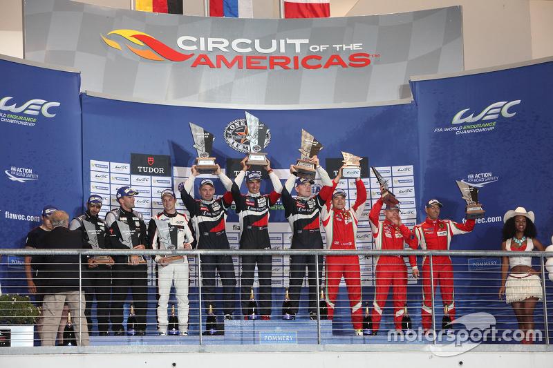 LMGTE Am podium: winners Andrea Bertolini, Viktor Shaitar, Alexey Basov, SMP Racing, second place Ch