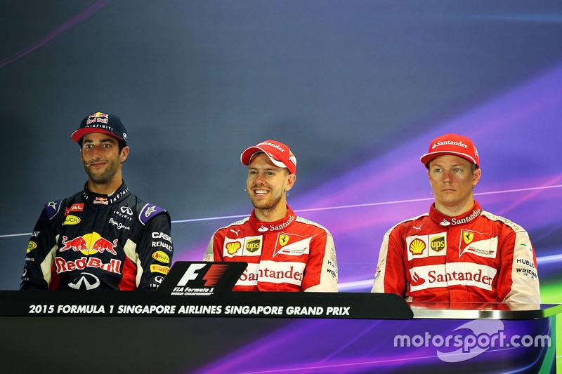 Pressekonferenz: 1. Sebastian Vettel, Ferrari, 2. Daniel Ricciardo, Red Bull Racing, 3. Kimi Raikkon