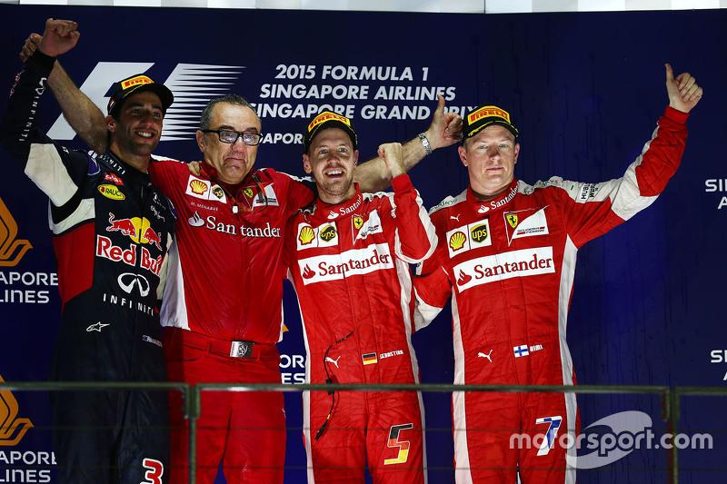 2015 : 1. Sebastian Vettel, 2. Daniel Ricciardo, 3. Kimi Räikkönen