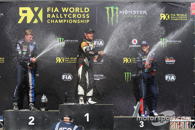 Podium: winner Petter Solberg, second place Johan Kristoffersson, third place Timmy Hansen