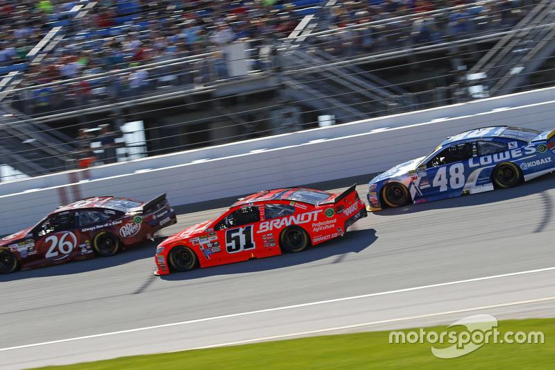 J.J. Yeley, BK Racing Toyota; Justin Allgaier, HScott Motorsports Chevrolet; Jimmie Johnson, Hendric