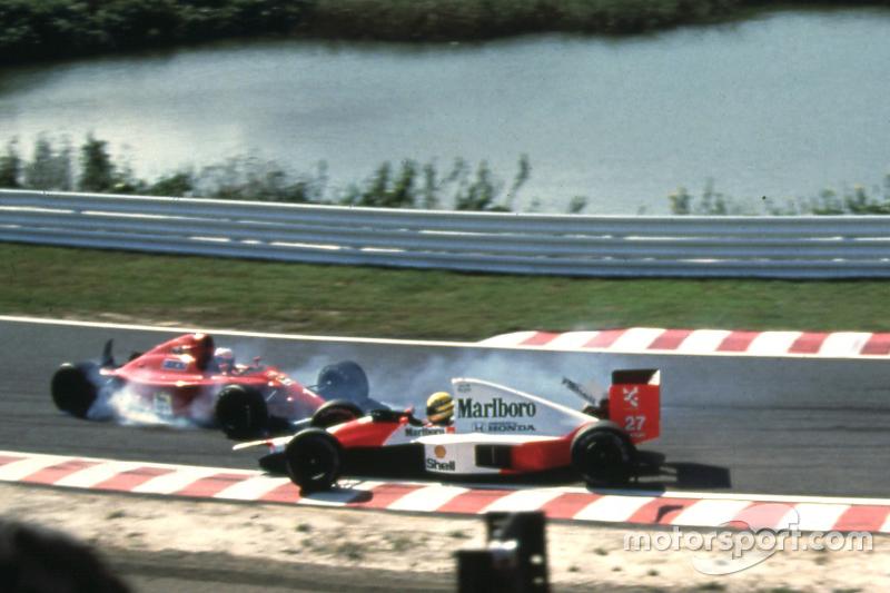 Alain Prost, Ferrari e Ayrton Senna, McLaren batem na primeira curva
