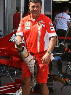 A proud Scuderia Ferrari team member