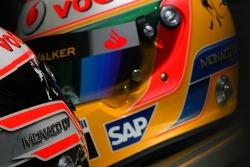 Fernando Alonso, McLaren Mercedes and Lewis Hamilton, McLaren Mercedes , helmets, with Steinmetz Diamonds