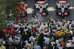 Celebración después de la carrera
