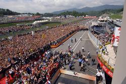Podium: race winner Valentino Rossi, second place Dani Pedrosa, third place Alex Barros