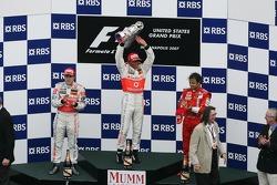 2nd palce Fernando Alonso, McLaren Mercedes with 1st place Lewis Hamilton, McLaren Mercedes and 3rd place Felipe Massa, Scuderia Ferrari
