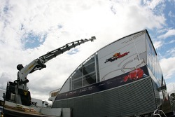The Red Bull Racing energy station, is assembled in the paddock