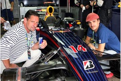 Actors, Max Tidof and Max von Thun in the Red Bull Racing garage