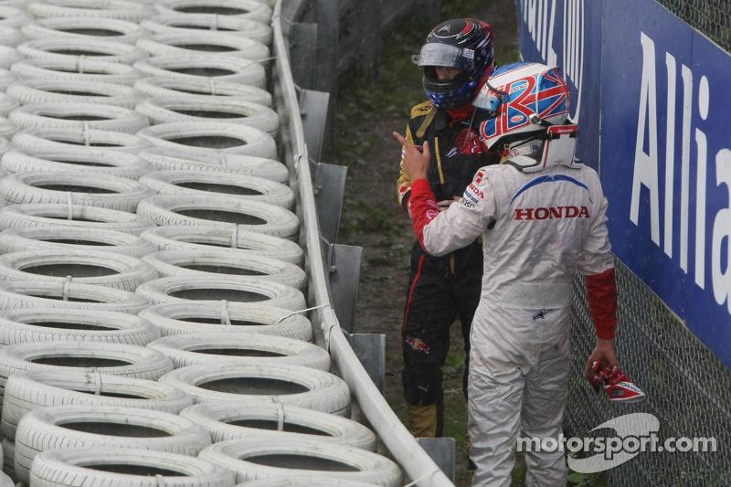 Jenson Button, Honda Racing F1 Team; Scott Speed, Scuderia Toro Rosso