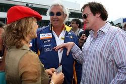 Quentin Tarantino, Regisseur; Zoe Bell, Schauspielerin; Flavio Briatore, Renault-Teamchef