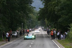 Cars arrive in downtown Spa