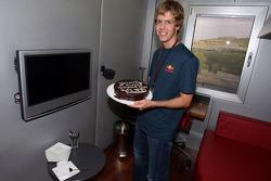 Sebastian Vettel gets a cake