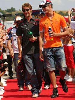 Adrian Sutil, Spyker F1 Team and Jenson Button, Honda Racing F1 Team