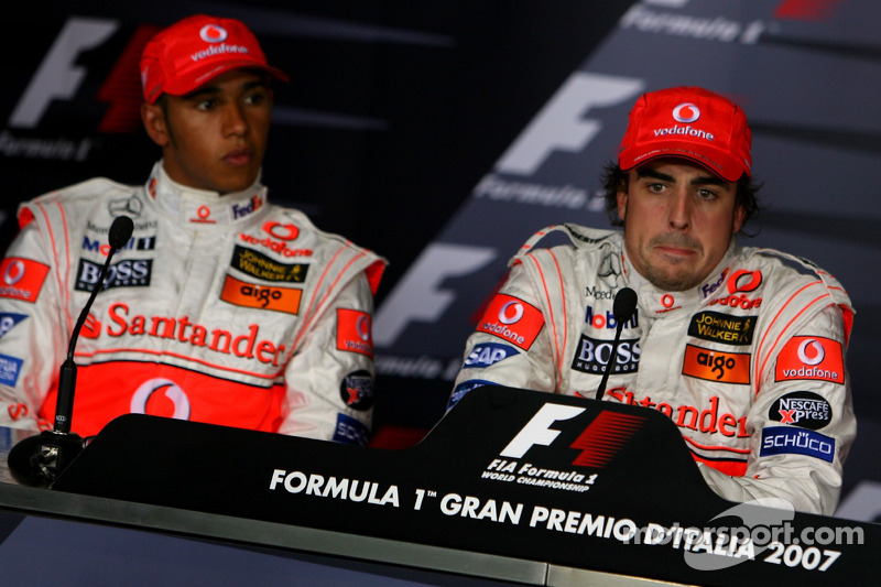 FIA press conference: pole winner Fernando Alonso with Lewis Hamilton