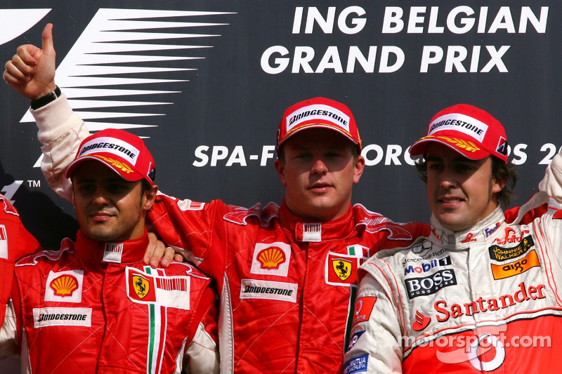 2007. Подіум: 1. Кімі Райкконен, Ferrari. 2. Феліпе Масса, Ferrari. 3. Фернандо Алонсо, McLaren-Mercedes