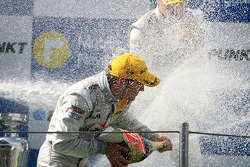 Podium: champagne shower for Jamie Green, Team HWA AMG Mercedes