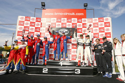 GT2 podium: class winners Toni Vilander and Dirk Muller, second place Gianmaria Bruni and Stéphane Ortelli, third place Tim Mullen and Darren Turner, G2 winners Miro Konopka and Miro Hornak, G3 winners Patrick Ortlieb and Jörg Peham
