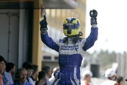 Andy Soucek celebrates third position
