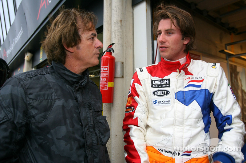 Arie Luyendyk Jr., driver of A1 Team Netherlands, with his father Arie Luyendyk Sr