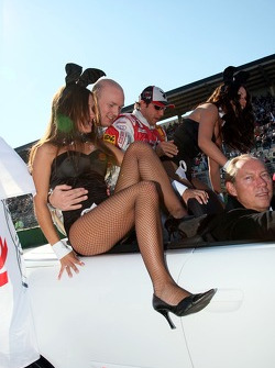 Alexandre Premat and Christian Abt with Playboy bunnies at drivers parade