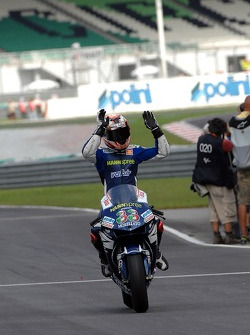 Second place Marco Melandri celebrates