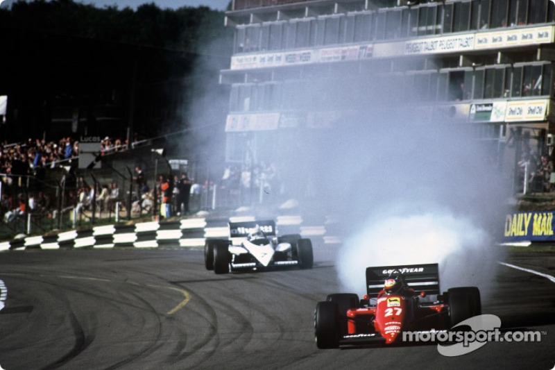 Michele Alboreto blows an engine