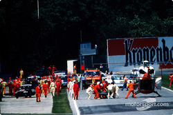 The fatal crash of Ayrton Senna at Tamburello: Ayrton Senna is brought to the safety helicopter
