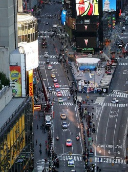 Nextel Cup Series drivers, lead By Jimmie Johnson, the 2007 NASCAR Nextel Cup Series Champion, drive through Times Square in a victory lap through the streets of midtown New York City