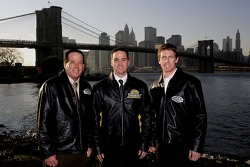 NASCAR national series champions Ron Hornaday (NASCAR Craftsman Truck Series), Jimmie Johnson (NASCAR NEXTEL Cup Series) and Carl Edwards (NASCAR Busch Series) pose in front of the Brooklyn Bridge