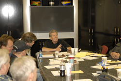 John Force holds court on a visit to his shop facility where he was updated on the progress of new r