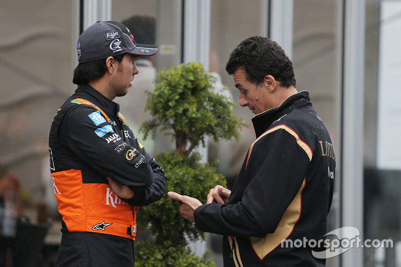 Sergio Perez, Sahara Force India F1 with Federico Gastaldi, Lotus F1 Team Deputy Team Principal